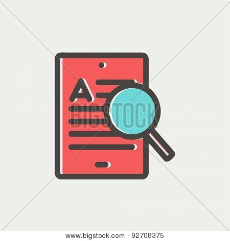 Tablet and magnifying glass searching network icon thin line for web and mobile, modern minimalistic flat design. Vector icon with dark grey outline and offset colour on light grey background.