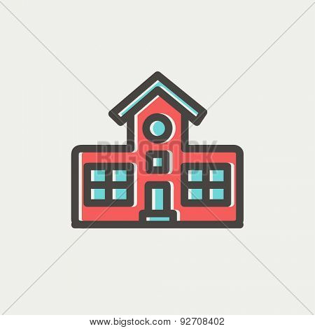 School building icon thin line for web and mobile, modern minimalistic flat design. Vector icon with dark grey outline and offset colour on light grey background.