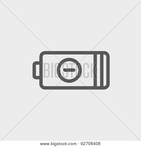 Negative power battery icon thin line for web and mobile, modern minimalistic flat design. Vector dark grey icon on light grey background.