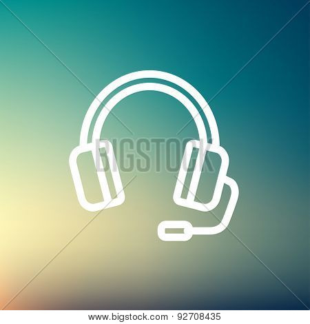 Headphones with microphone icon thin line for web and mobile, modern minimalistic flat design. Vector white icon on gradient mesh background.
