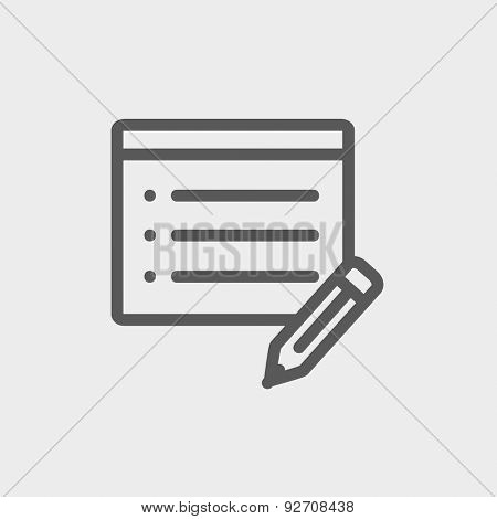 Note pad and pencil icon thin line for web and mobile, modern minimalistic flat design. Vector dark grey icon on light grey background.