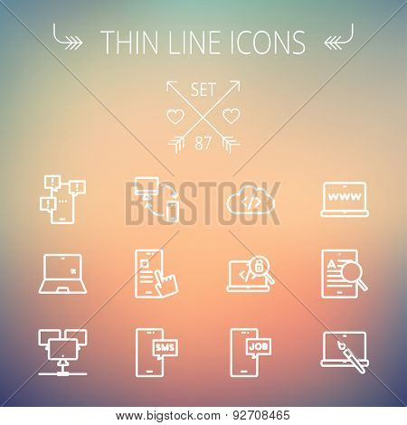 Technology thin line icon set for web and mobile. Set includes - laptop, monitor, smartphones, magnifying glass. Modern minimalistic flat design. Vector white icon on gradient  mesh background.