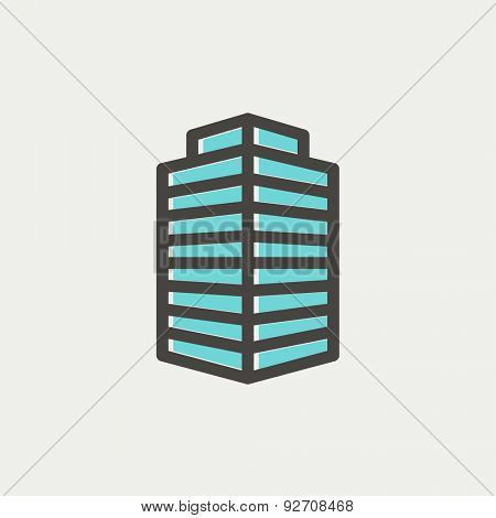 Small Office Building icon thin line for web and mobile, modern minimalistic flat design. Vector icon with dark grey outline and offset colour on light grey background.