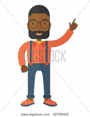 A businessman figure raises his arm up in gesture of success. A Contemporary style. Vector flat design illustration isolated white background. Vertical layout.