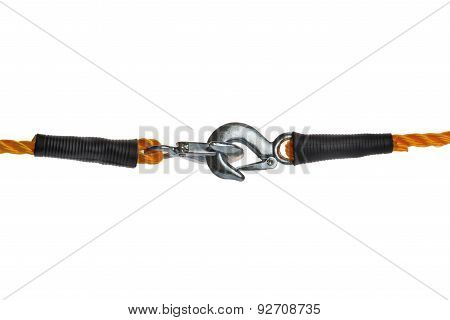 Towing Ropes With Hooks Connected On White Background