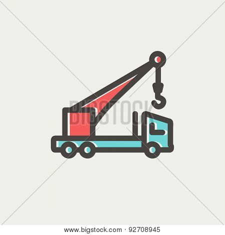 Tow truck icon thin line for web and mobile, modern minimalistic flat design. Vector icon with dark grey outline and offset colour on light grey background.