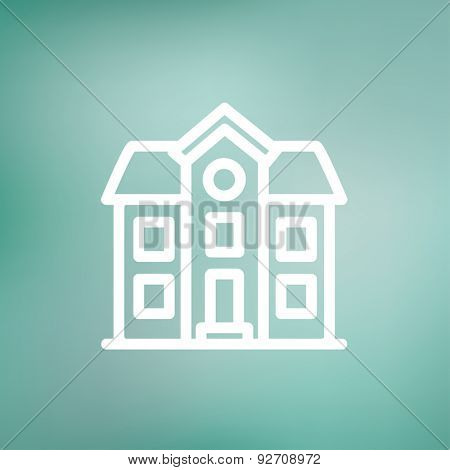 Two story house building icon thin line for web and mobile, modern minimalistic flat design. Vector white icon on gradient mesh background.