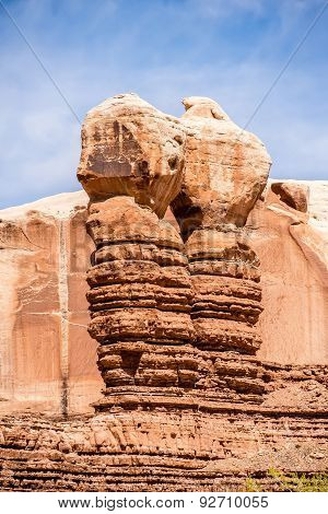 Hoodoo Rock Formations At Utah National Park Mountains