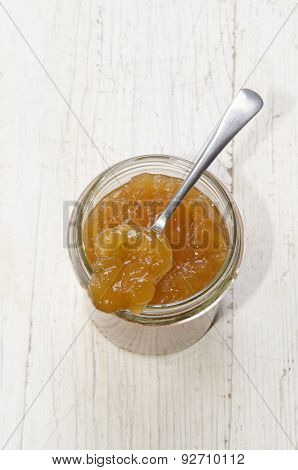 Homemade Apricot Jam In A Glass