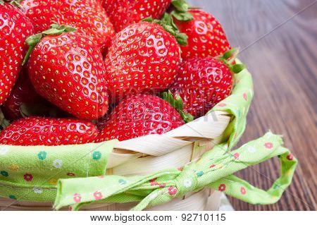 Fresh Red Strawberries In Basket