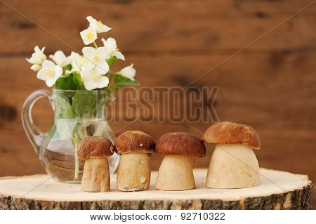 Porcini Mushrooms (boletus Edulis) Stand On Wooden Background With Jasmine In Glass Jar Copyspace