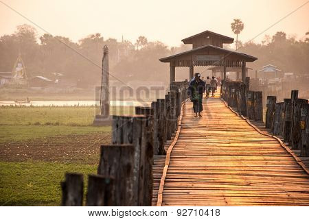 Ubein Bridge At Mandalay, Myanmar