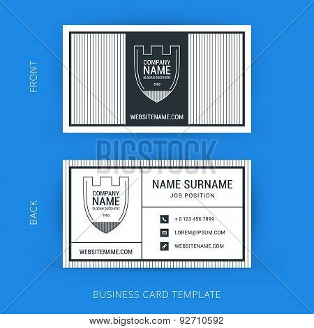 Vector Creative Business Card Template With Line Art Hipster Logo