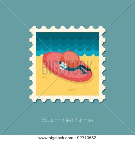 Beach Hat Flat Stamp