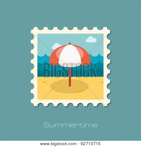 Beach Parasol Flat Stamp