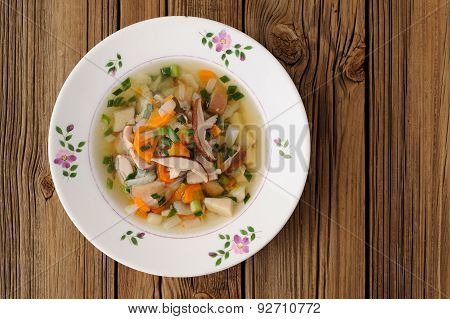 Porcini Mushrooms Soup In White Plate On Wooden Background  Copyspace
