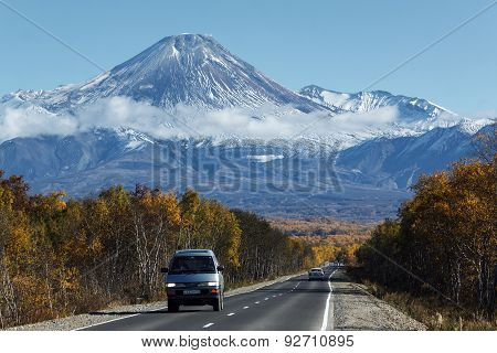 Cars On The Road To Avachinsky Volcano On Kamchatka Peninsula. Russia, Far East