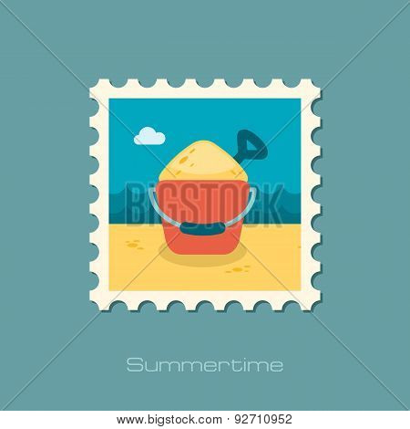 Sand Bucket And Shovel Flat Stamp