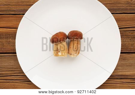Two Wild Porcini Mushrooms Lying On Large White Plate Copyspace
