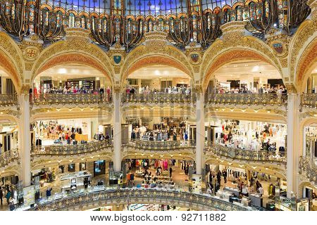 People Shopping In Luxury Lafayette Galeries Of Paris, France