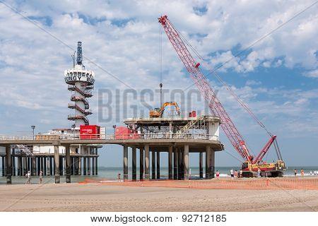 Renovation Pier Of Scheveningen Through Big Red Crane