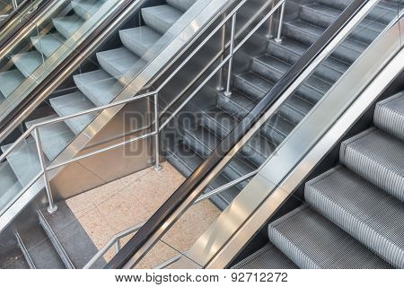 Escalators And Stairs In A Shopping Mall