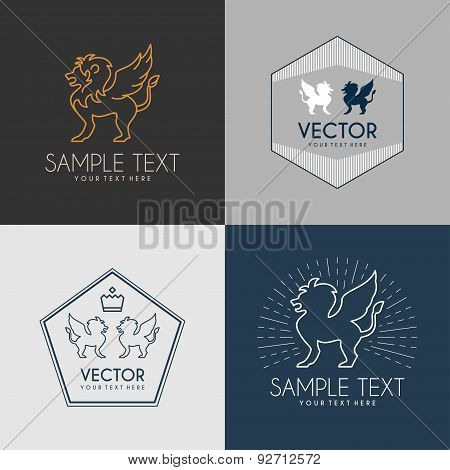 Set Of Line Art Badge Or Logo Template. Winged Lion. Thin Line Graphic Design