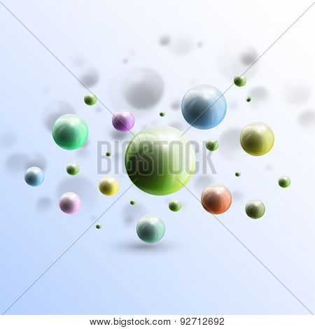 Three dimensional glowing color spheres on blue background. Abstract colorful design. Scientific, me