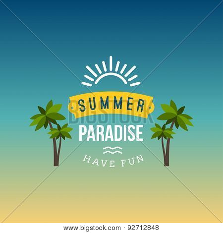 Retro Summer Vintage Label On Colorful Background