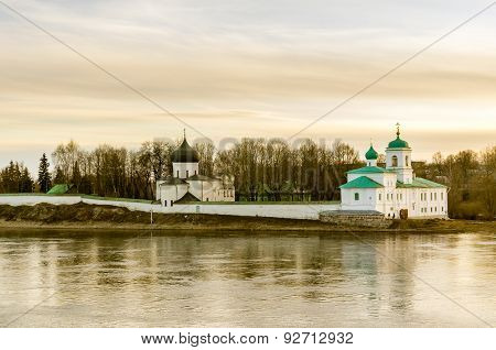 Landscape View On Church In Pskov, Russia