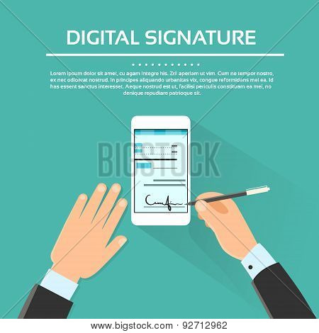 Digital Signature Smart Cell Phone Businessman Hands Sign Up