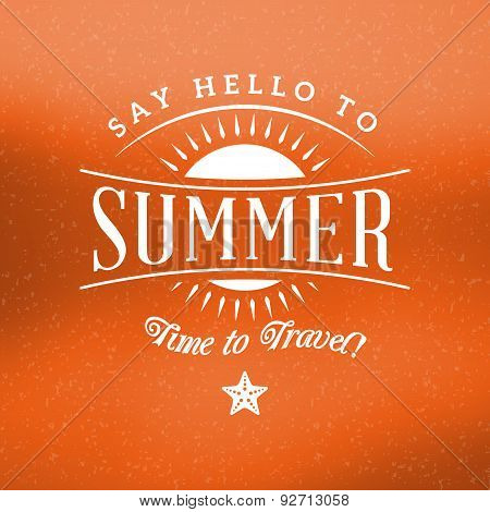 Retro Summer Holidays Hipster Label. Vector Design Elements On Coloful Summer Background