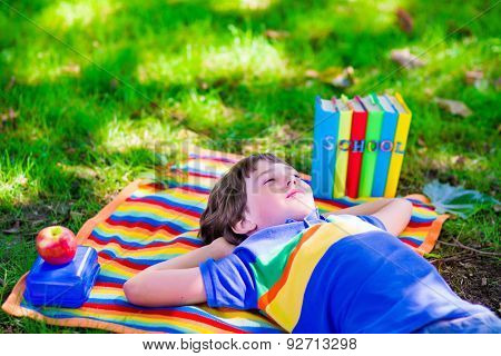 Student Boy Relaxing In School Yard Reading Books