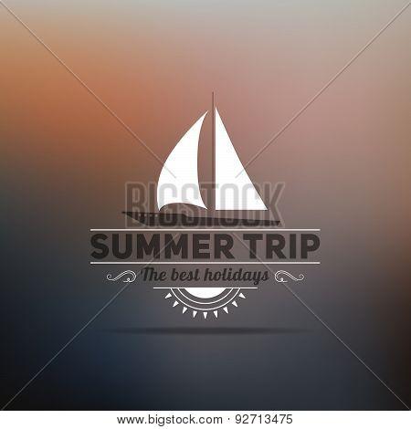 Retro Summer Vintage Label On Dark Background. Tropical Paradise, Beach Vacation, Adventure And Trav