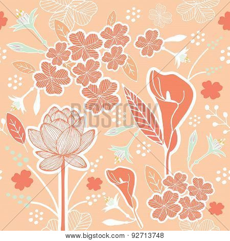 Flower Or Floral And Leaf Pattern Seamless Pastel Peach