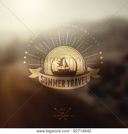 Summer Travel Vector Labels With Blured Background