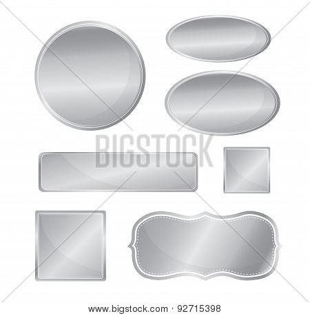 Blank Metallic Icon Set Silver