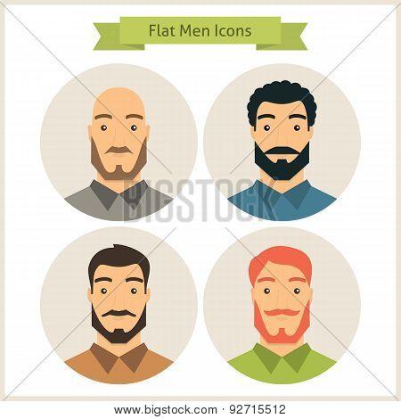 Flat Men Characters Circle Icons Set