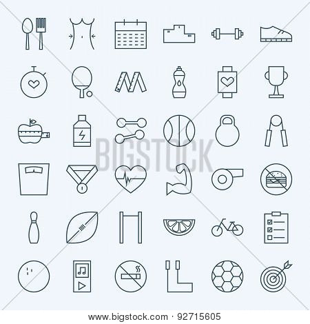 Line Sport And Healthy Lifestyle Icons Set