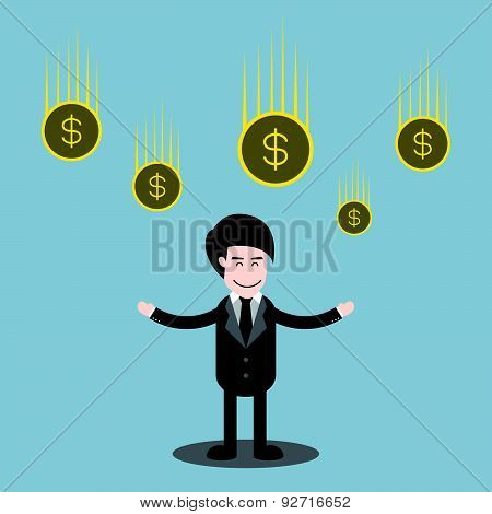 Businessman Standing And Money Coins Falling