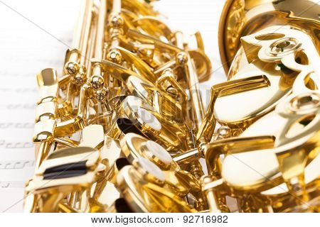 Detailed keys view of shiny alto saxophone