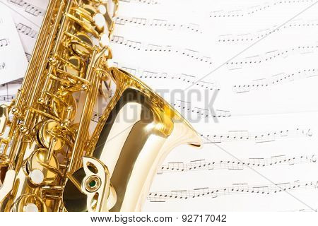 Beautiful alto saxophone with detailed keys, bell