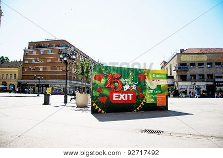 Bilboard Of Exit Festival 2015 In City Center Of Novi Sad