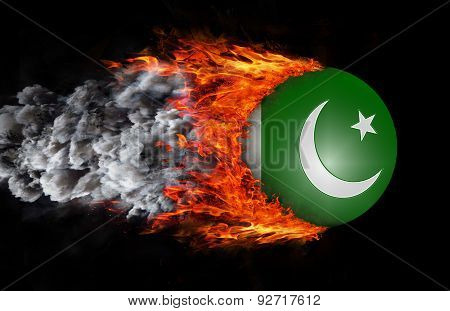 Flag With A Trail Of Fire And Smoke - Pakistan