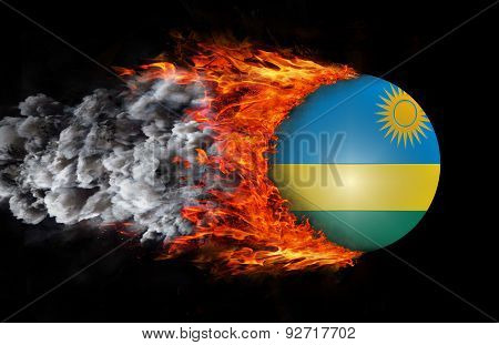 Flag With A Trail Of Fire And Smoke - Rwanda
