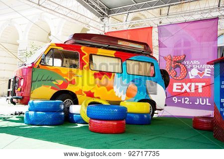 Colorful Retro Minivan Of Exit Festival 2015 In City Center Of Novi Sad