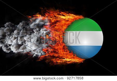 Flag With A Trail Of Fire And Smoke - Sierra Leone
