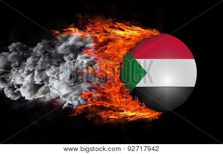 Flag With A Trail Of Fire And Smoke - Sudan
