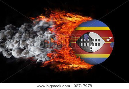 Flag With A Trail Of Fire And Smoke - Swaziland