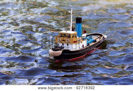 Model Ship Sails On The Sea, Ocean